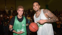 Justin Bieber Wearing a Green Jersey with Chris Brown and a Basketball