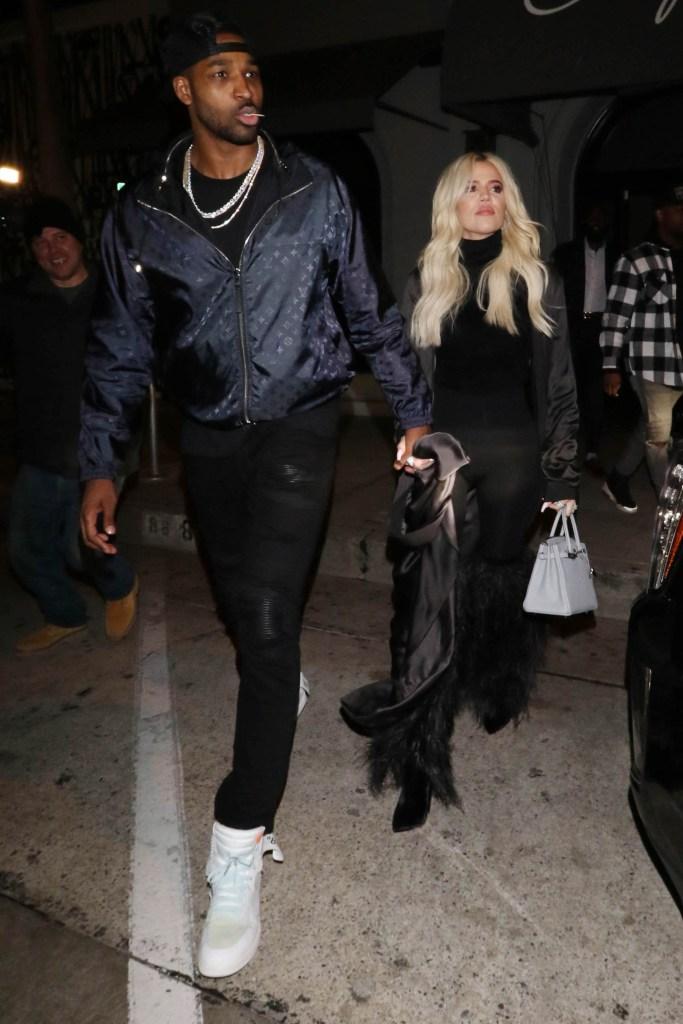 Khloe Kardashian Wearing Black With Tristan Thompson
