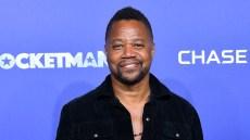 Cuba Gooding Jr Smiles in Black Dress Shirt at Rocketman Premiere Groping Allegations NYC