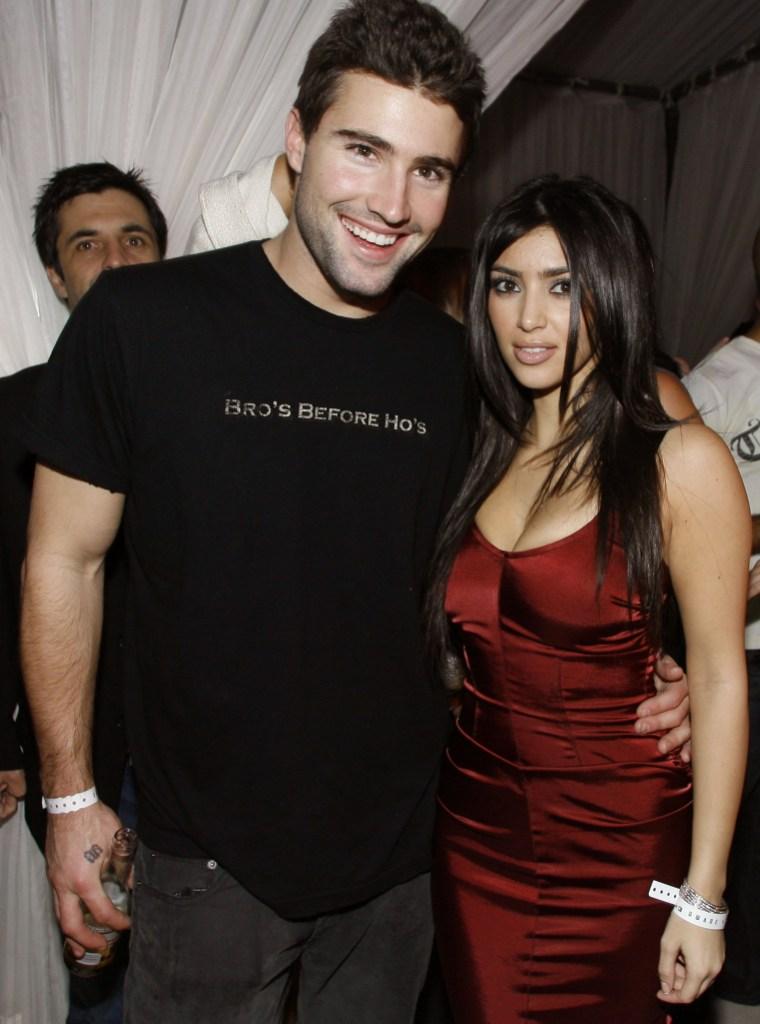 Brody Jenner Wearing a Black Shirt With Kim Kardashian Wearing a Red Shirt