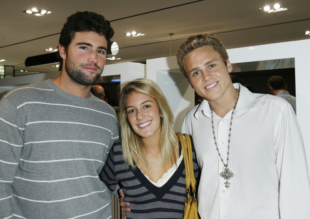 Brody Jenner Wearing a Striped Shirt with Heidi Montag and Spencer Pratt