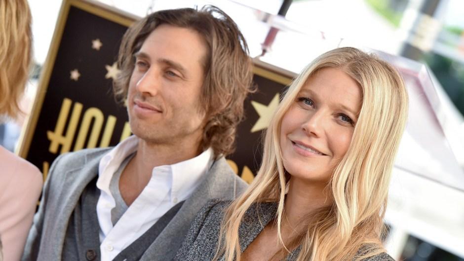 Gwyneth Paltrow Wearing a Gray Suit with Brad Falchuk