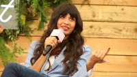 Jameela Jamil Wearing a Blue Shirt at an Event