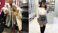 Side-by-Side Photos of Tristan Thompson and Khloe Kardashian in Fur Coats with Jordan Craig Taking Mirror Selfie in Closet