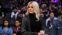 Khloe Kardashian Wearing a Black Outfit at a Basketball Game
