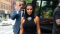 Kim Kardashian Wearing a Black Dress in NYC