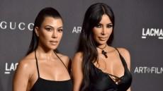 Kourtney and Kim Kardashian in Black Dresses at LACMA Gala