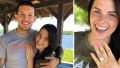 Photo of Lauren Comeau With Her Hand on Javi Marroquin's Chest Next To Photo Of Lauren Comeau Displaying Engagement Ring