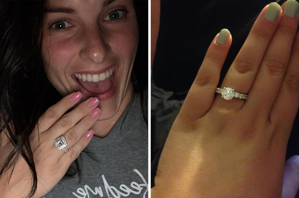 On the Left: Lauren Comeau Poses With Her Hand Wearing Her Engagement Ring Over Her Mouth; On the Right: Kailyn Lowry Posts Photo Of Her Hand Wearing Engagement Ring