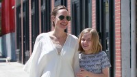 Angelina Jolie Wearing Sunglasses and a White Top With Vivienne