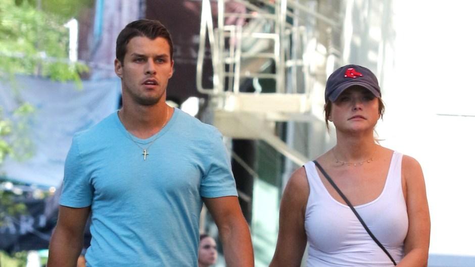 Miranda Lambert Wearing a White Shirt and Brendan McLoughlin in a Blue Shirt in NYC
