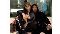 Nicki Minaj In Black Sweatpants at the Airport with Kenneth Petty