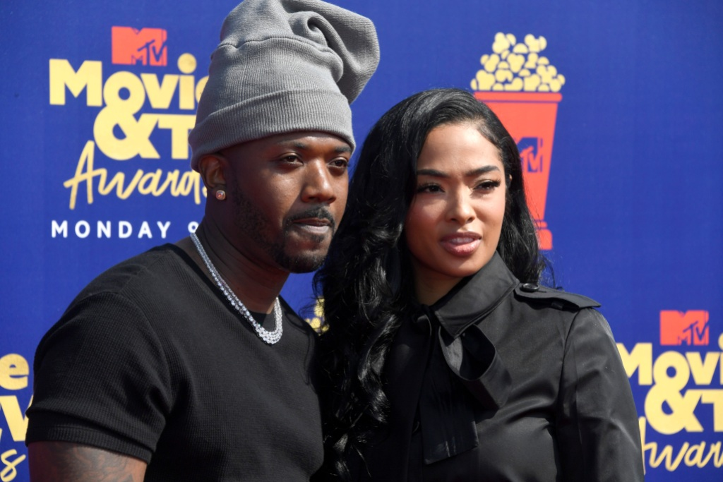 Princess Love Wearing All Black With Her Husband Ray J Wearing a Gray Beanie at the MTV Movie Awards