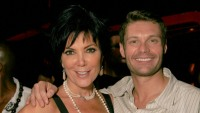 Kris Jenner Wearing a Black Shirt with Ryan Seacrest