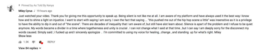 Miley Cyrus Apologizes on YouTube