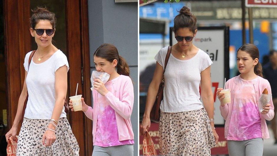 Katie Holmes and Suri Cruise Walking and Enjoying Treats in NYC