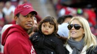 Tiger Woods and Elin Nordegren and Daughter Sam Wearing Stanford Cardinals Red On Sidelines Of Football Game Against California Bears