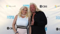 beth chapman wears a dress with a white top and a pink skirt with black color blocking duane dog chapman wears a black button down shirt and black pants beth chapman medically induced coma