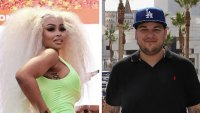 blac chyna wearing neon green dress rob kardashian wearing polo shirt and a blue LA dogders hat blac chyan rob kardashian dream reality show