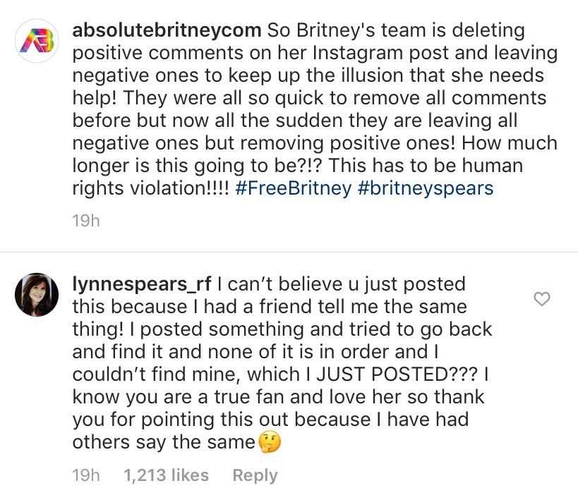 britney spears' mom lynne comments on instagram