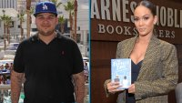 Rob Kardashian, left, is wearing a black polo shirt and Evelyn Lozada, left, wears a tan jacket with a black top holding her book: the perfect date.