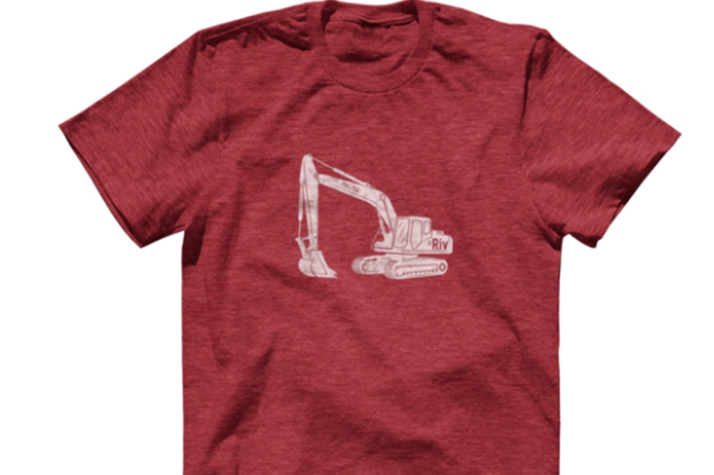 A red t shirt with a crane on it.