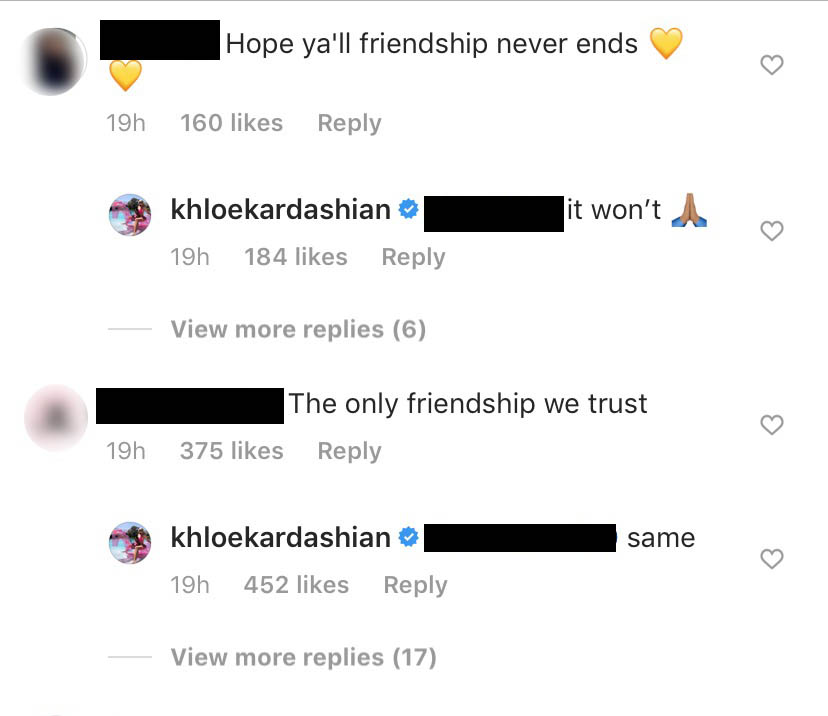 khloe kardashian seemingly shades jordyn woods in the comments section of her recent instagram post ahead of the 'kuwtk' cheating scandal episode