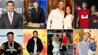 Javi Marroquin, top left, wears a suit. Paul D, bottom left, wears a black shirt with the word GILVENCHY on it. Scott Disick, bottom and second to the right, is wearing a black jacket with a white shirt underneath. Spencer Pratt, bottom and second to the right, is holding his son with partner heidi montag.