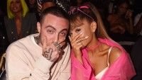 Ariana Grande Wearing a Pink Outfit with Mac Miller in a White Sweatshirt