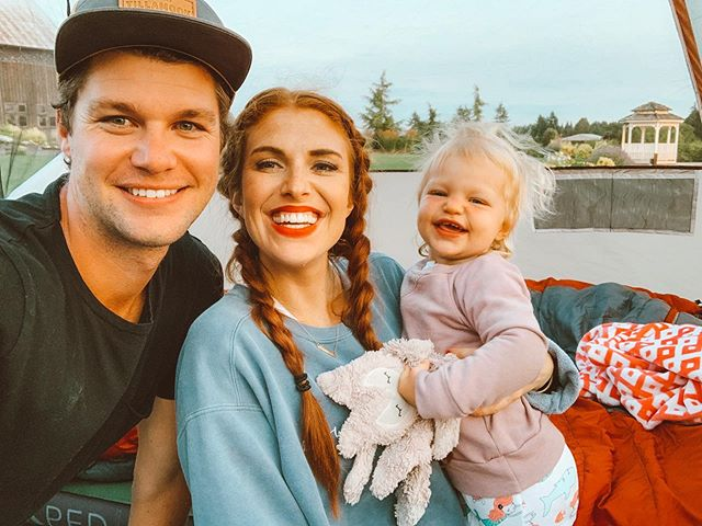 Audrey and Jeremy Roloff with Daughter Ember Celebrities Hugging Sons Daughters