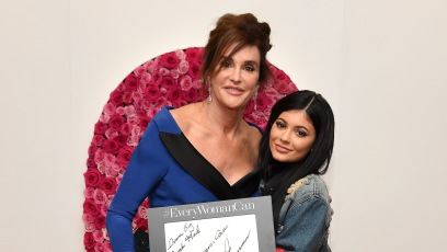 Kylie Jenner Wearing Jacket and Caitlyn Jenner Wearing a Blue Dress