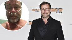 In-Lay of Dean McDermott Selfie from Hospital over Dean McDermott Wearing Black Suit on Red Carpet