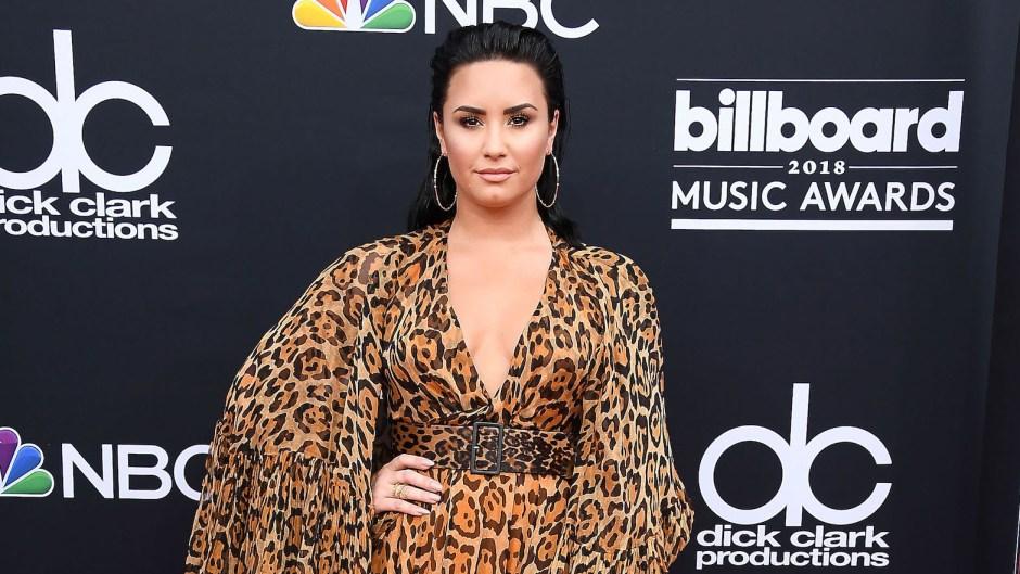 Demi Lovato Wearing a Leopard Dress