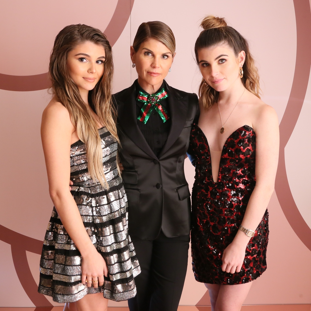 Lori Loughlin Wearing a Black Jacket With Her 2 Daughters
