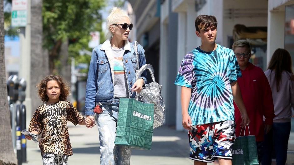 Gwen Stefani Wearing a Jean Jacket With Her Kids