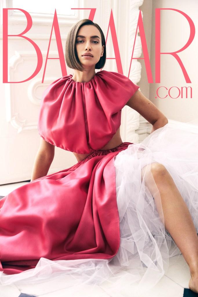 Irina Shayk Wearing a Pink Dress on Harper's Bazaar