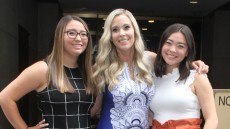 Kate Gosselin Wearing a Patterned Dress With Her Daughters