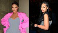 Kylie Jenner In Gray Dress With Pink Blazer, Jordyn Woods in Black Dress with Bag