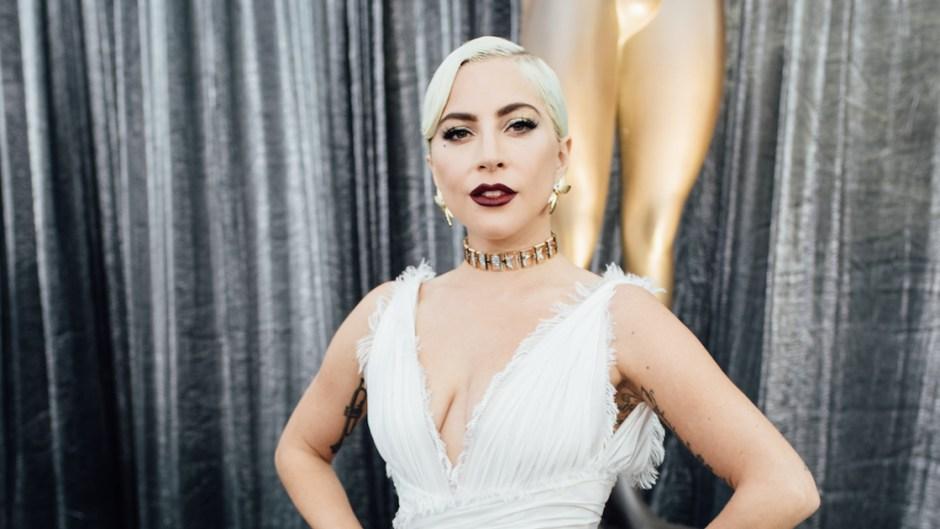Lady Gaga Wearing White Dress with Dark Lip