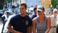 Miranda Lambert Wearing a Gray Shirt With Brendan McLoughlin