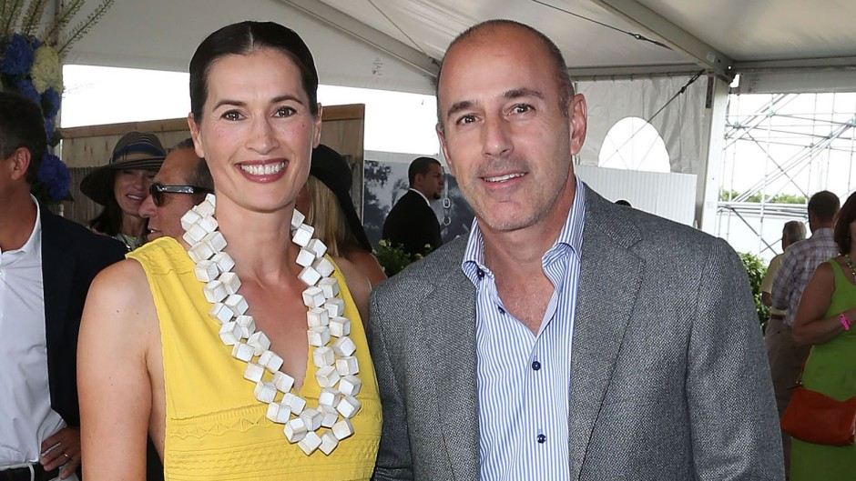 Matt Lauer Wearing a Gray Suit With His Wife Annette in a Yellow Dress
