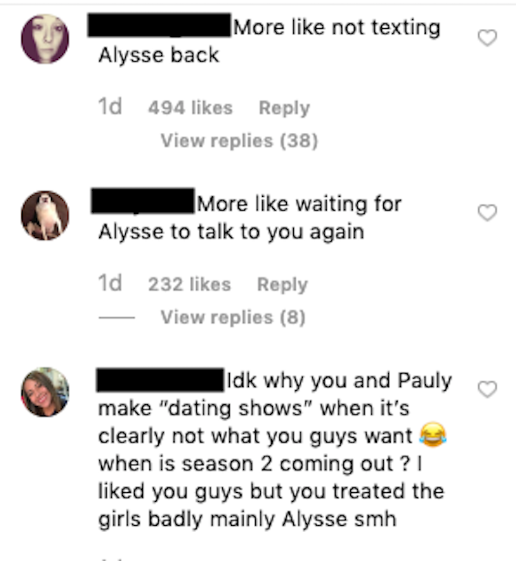 Vinny Guadagnino comments about Alysse after double shot at love
