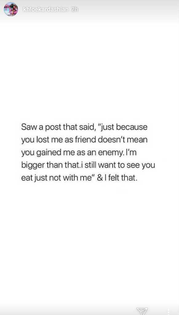 Khloe Kardashian Message on Instagram