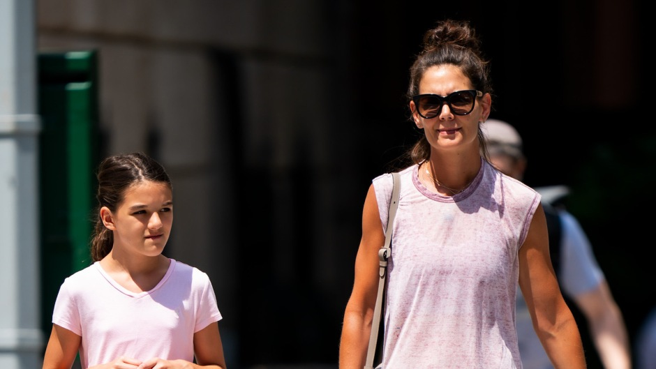Katie Holmes Wearing a Purple Tank Top With Suri Cruise in a T-Shirt Walking Around NYC