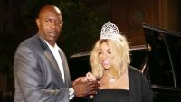 Wendy Williams Wearing a Black Dress With a Tiara