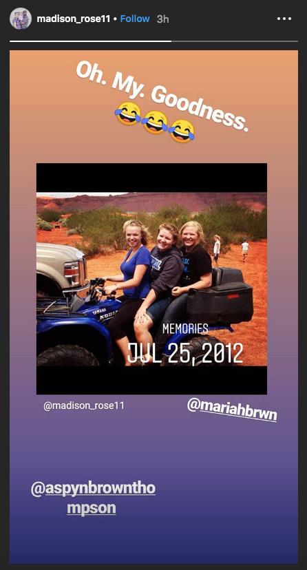 maddie brown throwback instagram photo