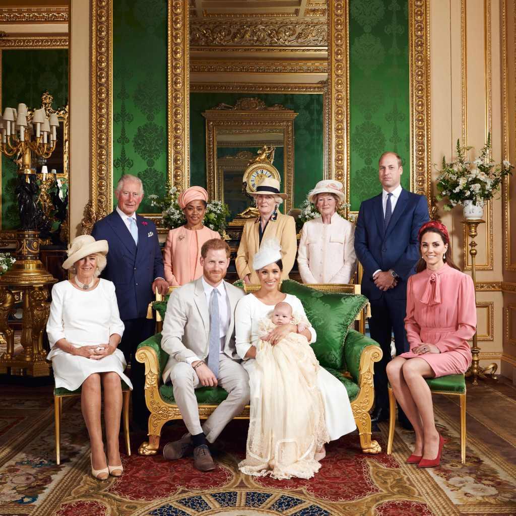 meghan markle archie prince harry christening royal family portrait