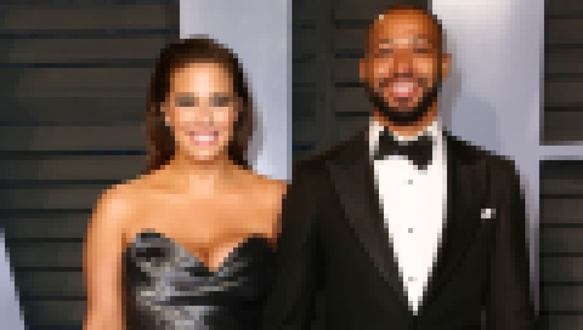 Ashley Graham Wearing a Silver Dress With Husband Justin