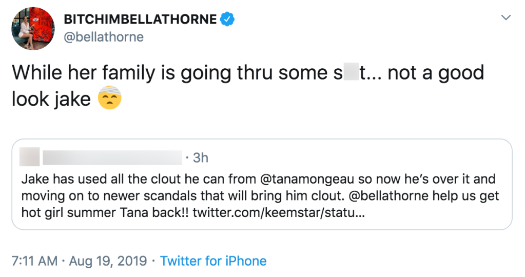 Bella Thorne Slams Jake Paul After He Was Spotted With Ex Erika Costell Amid Tana Mongeau's Family Emergency