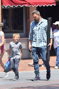 Ben Affleck Wearing a Striped Shirt With Son Samuel at Disneyland